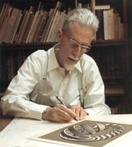 M.C.-Escher-signing-Spirals-portrait-artist